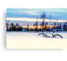 A Snowy Bike Ride Canvas Print