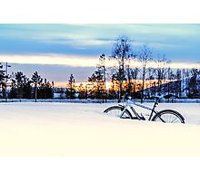 A Snowy Bike Ride Photographic Print