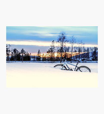 A Snowy Bike Ride Photographic Print