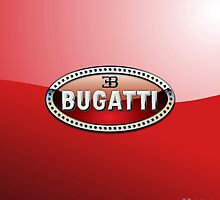 Bugatti 3D Badge-Logo on Red by Captain7