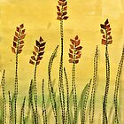 Wheat Field - Mixed Media Textiles by lilybowlerart