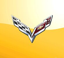 Chevrolet Corvette 3D Badge-Logo on Yellow by Captain7