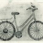 Bike Collagraph Print on Calico by lilybowlerart