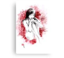 Geisha young girl with sakura cherry blossom japanese japan painting Canvas Print