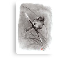 Bird on the branch litlle sparrow winter cold rain painting ink Canvas Print