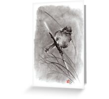 Bird on the branch litlle sparrow winter cold rain painting ink Greeting Card