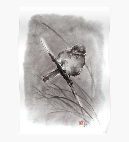 Bird on the branch litlle sparrow winter cold rain painting ink Poster