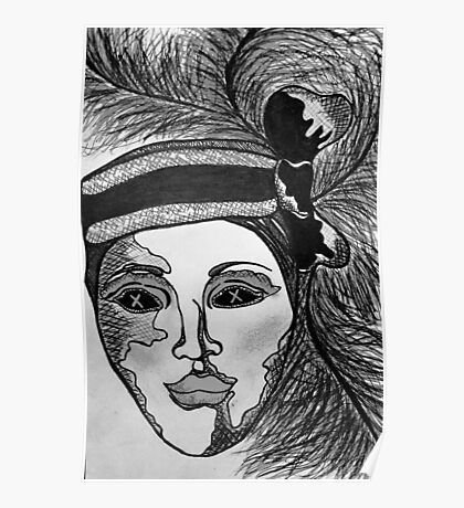 Masquerade Woman Black and White Poster