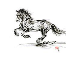Horse stallion black wild animal 2014 year ink painting by Mariusz Szmerdt