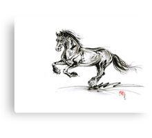 Horse stallion black wild animal 2014 year ink painting Canvas Print