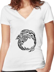 Charizard Tribal Women's Fitted V-Neck T-Shirt