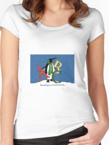 Reading Books is COOL, Penguin with Letters, ABC's, Snow Women's Fitted Scoop T-Shirt