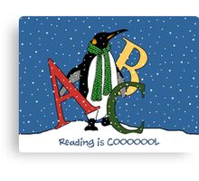 Reading Books is COOL, Penguin with Letters, ABC's, Snow Canvas Print