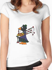 Cool Funny Penguin Playing Bagpipes Women's Fitted Scoop T-Shirt