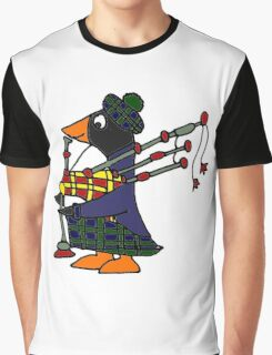Cool Funny Penguin Playing Bagpipes Graphic T-Shirt