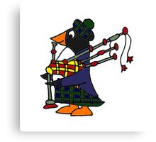 Cool Funny Penguin Playing Bagpipes Canvas Print
