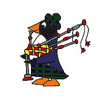 Cool Funny Penguin Playing Bagpipes Photographic Print