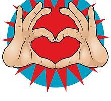 Pop Art Hand Heart Hand Sign by jorgenmac