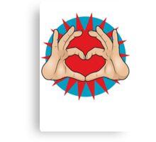 Pop Art Hand Heart Hand Sign Canvas Print