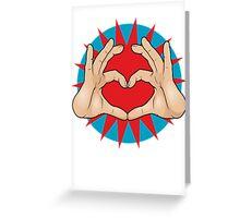 Pop Art Hand Heart Hand Sign Greeting Card