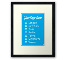 Greetings From...  Framed Print