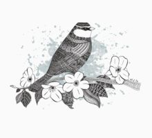 Bird on cherry blossoms One Piece - Long Sleeve