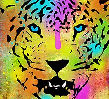 POP Tiger - Colorful Paint Splatters and Drips - Stained Canvas Art Prints by Denis Marsili - DDTK