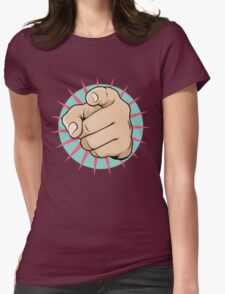 Vintage Pop Art Pointing Hand Sign Womens Fitted T-Shirt