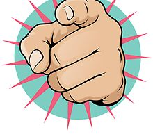Vintage Pop Art Pointing Hand Sign by jorgenmac