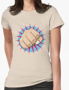 Vintage Pop Art Punching Fist Sign Womens Fitted T-Shirt