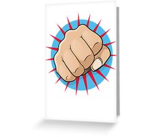 Vintage Pop Art Punching Fist Sign Greeting Card