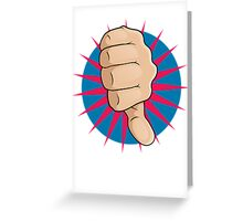 Vintage Pop Art Thumbs Down Sign. Greeting Card