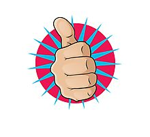 Vintage Pop Art Thumbs Up Sign. Photographic Print
