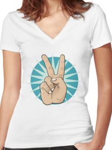 Pop Art Victory Hand Sign. Women's Fitted V-Neck T-Shirt