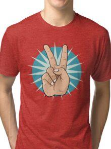 Pop Art Victory Hand Sign. Tri-blend T-Shirt