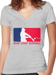 Major League Blernsball (MLB / Futurama parody) Women's Fitted V-Neck T-Shirt