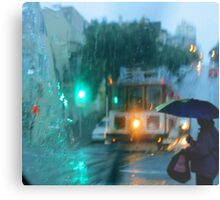 Waiting for a cable car in the rain Canvas Print