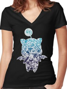 Final Fantasy Moogle-verse (blue) Women's Fitted V-Neck T-Shirt