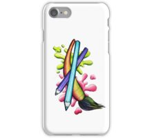 Paint Brush Colored Pencil Paint Splatter iPhone Case/Skin