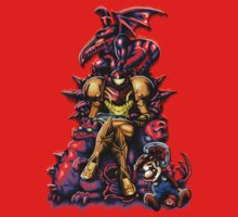 Metroid - The Huntress Throne (with Mario) One Piece - Short Sleeve