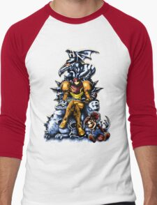 Metroid - The Huntress Throne (with Mario) Men's Baseball ¾ T-Shirt