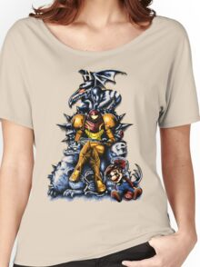Metroid - The Huntress Throne (with Mario) Women's Relaxed Fit T-Shirt