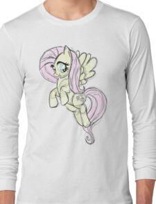 Fluttershy stencil art Long Sleeve T-Shirt