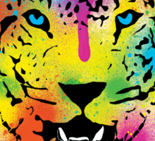 POP Tiger - Colorful Paint Splatters and Drips - Stained Canvas Art Prints Sticker