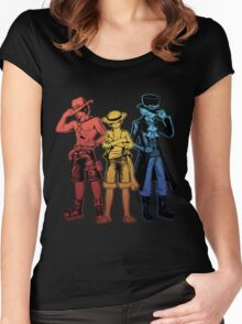 One Piece Brothers - red/yellow/blue Women's Fitted Scoop T-Shirt