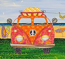 Combie Campers (Orange) by Lisa Frances Judd~QuirkyHappyArt