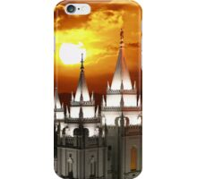 Salt Lake Temple Sunset Spires 20x24 iPhone Case/Skin