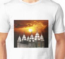 Salt Lake Temple Sunset Spires 20x24 Unisex T-Shirt