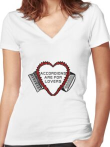 Flowered Accordion Bellows Heart Women's Fitted V-Neck T-Shirt