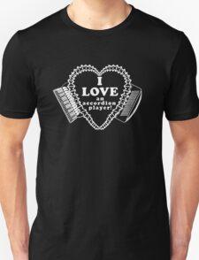 White I Love an Accordion Player Heart Motif! T-Shirt